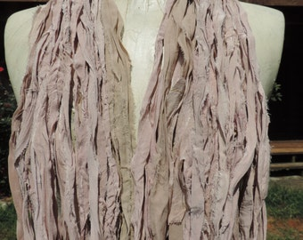 Beautiful And Soft Pale Pink And Beige Colored Sari Ribbon Yarn 55-60 Yards