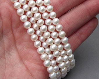 White Freshwater Pearls, Freshwater Pearl Strand, 5-6mm Pearls, Pearl Jewelry, Pearl Necklace Supplies, Destash Pearls