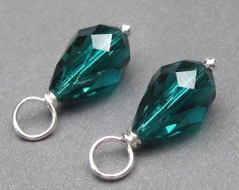 Swarovski Crystals, Birthstone Charms, Swarovski Birthstone Charms,  Emerald Birthstone Charms, May Birthstone,  Interchangeable Earrings
