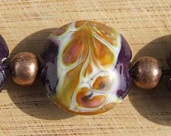 Royal Robes - lampwork lentil beadset
