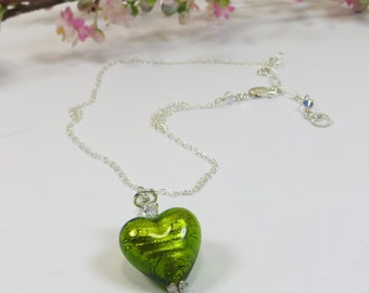 Heart Necklace, Erba Lime Green Silverfoil Venetian Murano Heart Necklace w Swarovski Crystal 925 Sterling Silver Chain,Green Heart Necklace