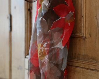 Vintage Floral Sheer Scarf / Ladies Retro Fashion