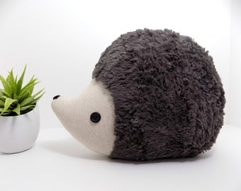 Hedgehog pillow plush in pewter grey/brown, hedgehog stuffed animal toy, woodland nursery decor hedgehog