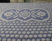 Azure Blue Vintage Chenille Fabric Piece, Blue and White Chenille Fabric, Sewing Supplies, Chenille Fabric, Vintage Fabric