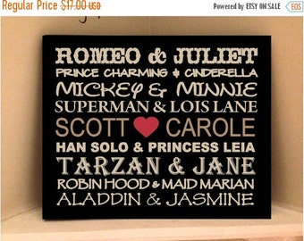 ON SALE Personalized wooden sign with vinyl Famous couples and your names...subway art