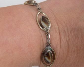 Vintage bracelet,sterling silver and agate station bracelet, 8 inch bracelet,jewelry
