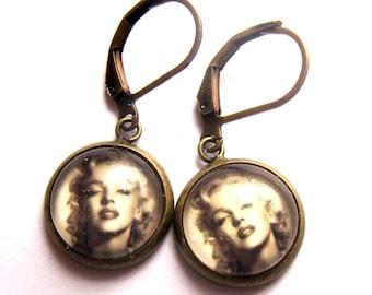 Marilyn Monroe Earrings Glass Photo Jewellery