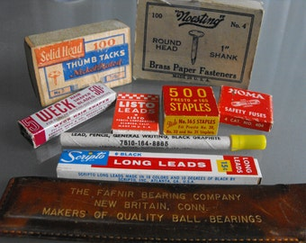 Office Supplies, Vintage Office, Theater Prop, Television Movie Prop, Brass Fasteners, Staples, Pencil Leads, Thumb Tacks, Ad Ruler