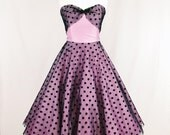 Pink and Black polka dot Tulle 1950's style evening dress, full circle skirt, beaded detail