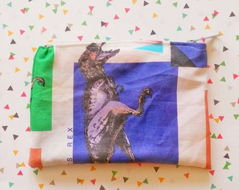 Jurassic Park Trex  vintage style upcycled zipper pencil bag cosmetic bag