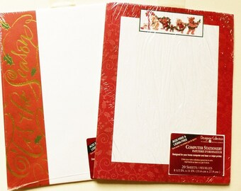 2 Designs Christmas Computer Stationery 40 Sheets Total 20 ea American Greetings Pkg