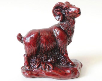 Chinese Red Ram Figurine Aries Astrology Vintage