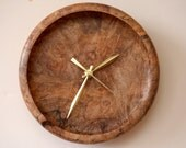 Turned Wood Clock, Wall Clock, Maple, Figured Ambrosia Maple