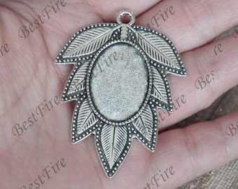 5pcs Antique Silver leaf oval Cabochon pendant tray (Cabochon size 18x25mm),bezel charm findings,lacework findings,cabochon blank finding