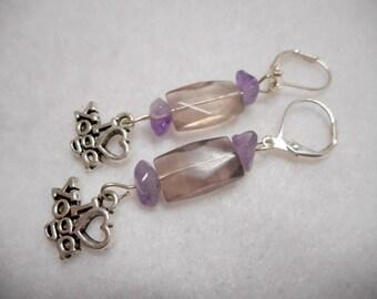 Gemstone Yoga Earrings, Ametrine Earrings, Amethyst Earrings, Yoga Earrings, Yoga, Meditation Earrings, Zen Earrings, Spiritual Jewelry