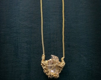 30% SALE raw kunzite necklace, crochet necklace, goldfilled necklace, ooak jewelry, julia berg