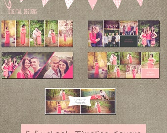 Facebook Timeline Set of 5 Cover Collage Photographer Photography Template PSD - Photo INSTANT DOWNLOAD cs and Elements