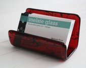 Righteous Red glass business card holder
