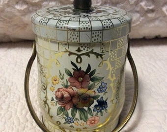 20% SALE Vintage Murray Allen Toffee Tin Container Pink Flower with Handle and Knob Lid England