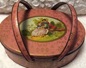 25% FATHER DAY SALE Vintage Pink Romantic Lunch Box or Sewing Tin Handles Oval 1950s