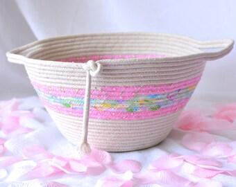 SALe... Pink Clothesline Basket, Handmade Pink Fiber Basket, Brush Holder, Makeup Organizer, Remote Control Holder, Toy Storage Bin