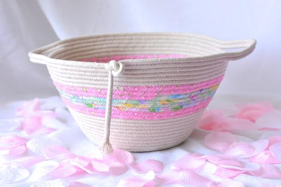 Natural Rope Basket, Handmade Pink Fiber Basket, Bathroom Decoration, Makeup Organizer, Remote Control Holder, Toy Storage Bin