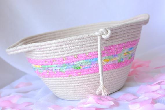 Nursery Pink Basket, Handmade Pink Fiber Basket, Baby Girl Room Decor, Makeup Organizer, Hair Tie Band Holder, Toy Storage Bin