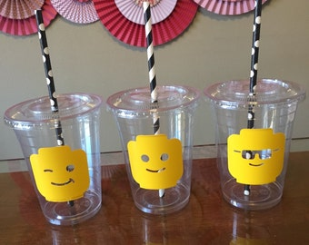 Lego head inspired plastic cups 10 cups (16oz) ... Great for parties, birthdays, celebrations