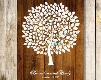 woodland theme Wedding Guest Book Alternative Print Wedding tree Rustic Wedding Tree  - 17x22,20x25,20x30 Signature Wedding Guest Book tree