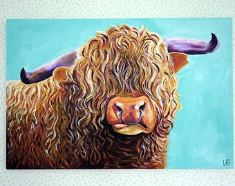 Cow Painting, Highland Cow Painting, Cow Art, 24x36 Art, Scottish Cow Painting, Farm Animal Painting