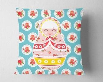 Matryoshka Doll Pillow, Nursery Pink Rose Heart Russian Decor, Shabby Chic Kids Room Decor, Pillow Doll Polka Dot Pink Room Decor Gift
