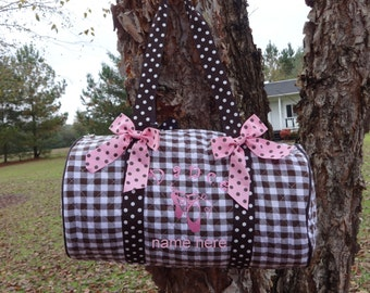 "Personalized 18"" Dance Bag/Ballet Bag  BROWN GINGHAM  Polka Dot"