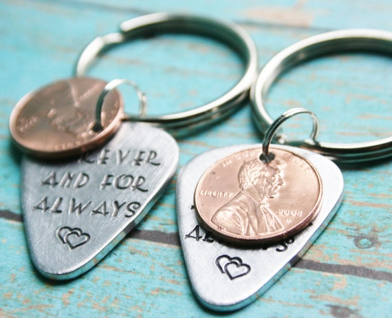 SET OF 2 Guitar Pick Penny Key Chain CUSTOM Hand Stamped Aluminum Metal Guitarist Gift Boyfriend Husband Personalized Custom Stamping