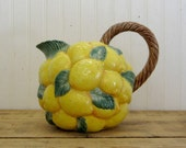 Vintage 1989 2 quart Fitz and Floyd Lemon Yellow Water Pitcher Farmhouse Decor