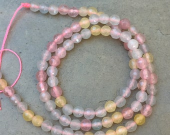 Pink Agate Beads, Pink and Yellow Agate Beads, Round Agate Beads, 4mm, 14.5 inch strand