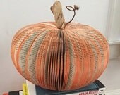 large recycled book page paper pumpkin decoration centerpiece fall Thanksgiving