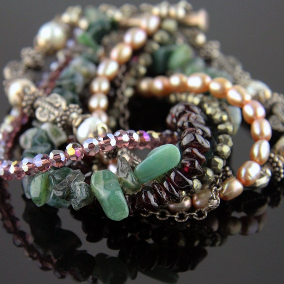 Gemstone and Pearl Twisted Sterling Bracelet