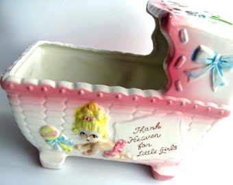 "Vintage Musical Planter Rubens Originals 129 Ceramic Wind Up Cradle For Baby Girl Plays ""Thank Heaven For Little Girls"""