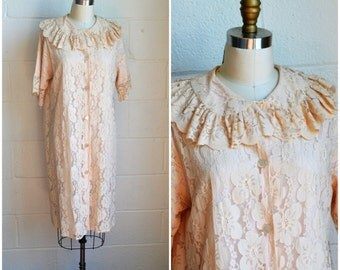 Vintage Dressing Gown 1950s Aristocraft Lace Robe Pink on Pink Peachy Pink Soft Lace Short Robe Size Large