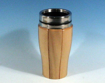 Oregon Myrtle with Canary Accents Wooden Travel Mug with Stainless Steel Insert and Sliding Sipper Top