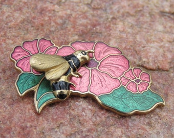 Vintage Honey Bee Brooch, Bumble Bee Pin, Cosmos Flowers with Green Leaves, Costume Jewelry