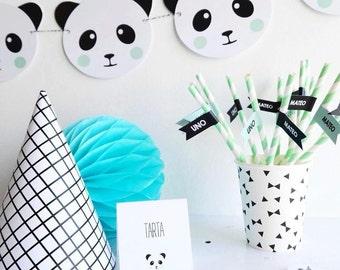 Printable Garland: Panda Mint & Pink