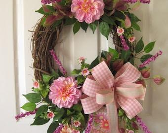 Spring Wreath, Summer Wreath, Oval Grapevine Wreath, Front Door Wreath, Pink coral Dahlias, Gift Wreath