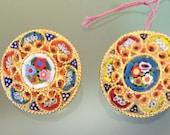 Pair of Italian Micro Mosaic Clip Earrings