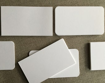 """50 Size 2"""" x 3 1/2"""" White Blank Cards--Cut Cardstock--For Place Cards--Name Cards--Tags--Business Cards - Square or Round corners"""