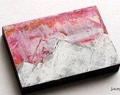 Mini Painting, Mixed Media Mountains, Mountain Art, Impressionist Art, Abstract Art, 2.5 x 3.5 Original Art Mixed Media, Fuschia Pink, No. 3