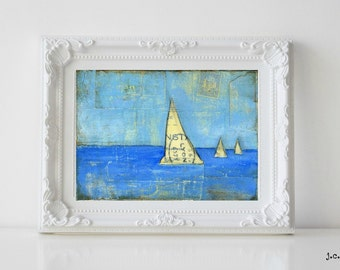"Sailboat Painting, 5x7"" Original Mixed Media, Original Art, Nautical painting, Sailing, Sail Art, cerulean blue light blue, Sailboat No. 1"