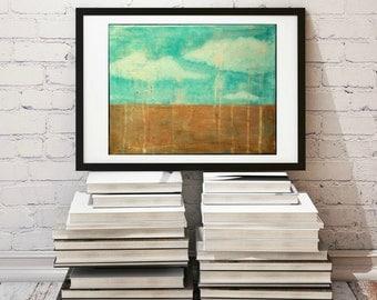 "Landscape Print, 11x14"" Mixed Media Art Print, Contemporary Art Print, Abstract Art, Wall Art, (279x356mm) Turquoise, Brown, Aqua, ""Showers"""