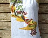 Jimmy Buffett Margaritaville blew out my flip flop tie dyed shoulder tie  halter top NEW UPCYCLED T Shirt  Xl - XXL