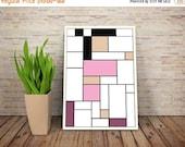 GEEKLOVE SALE Amy Wong, De Stijl Minimalist Inspired Futurama Character Print // Color Blocks, Geometry, and Thin Line Grid Design
